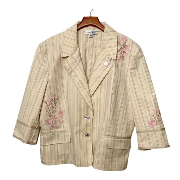 ST. JOHN Sport Striped Floral Blazer Cream Pink XL